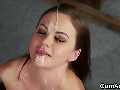 Unusual looker gets cumshot on her face swallowing all the jizz
