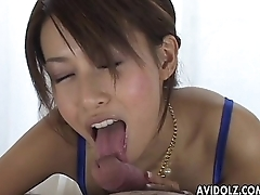 Asian milfy glam babe sucking on the huge dick