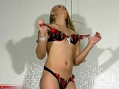 Big ass blond femboy strips down shorts plus strokes her cock
