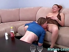 Mature mom loves young babe