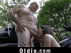Young petite girl swallows old cum after grandpa cock scenic route
