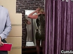 Foxy peach gets cumshot on her face swallowing all the juice