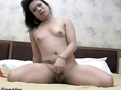 Asian tranny strips off red lingerie and jerks pudgy shecock