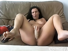 Hot wife uses dildo on cam