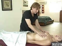 Pretty brunette shemale Alexa Scout gets her asshole pounded