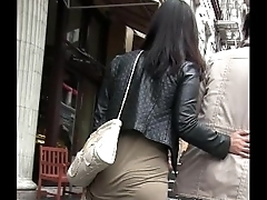 Candid Latina in Dress Chunky Booty Street woman