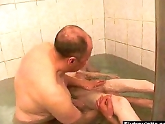 Bathtime with daddy and friends