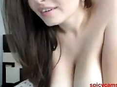 Gorgeous brunette with obese tits - spicycams69.com