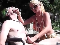 Blonde Old lady Sophee Dee Dominating Her Lass