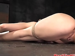 Flexible submissive punished with toy
